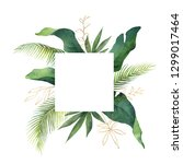watercolor green card tropical... | Shutterstock . vector #1299017464