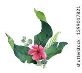 watercolor bouquet tropical... | Shutterstock . vector #1299017821
