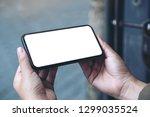 mockup image of hands holding... | Shutterstock . vector #1299035524