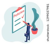 clipboard with a sheet policies.... | Shutterstock .eps vector #1299037981