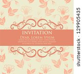 invitation or wedding card with ... | Shutterstock .eps vector #129905435