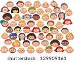 Set Of Cartoon Children's Faces