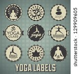 vector set  yoga labels and... | Shutterstock .eps vector #129909605