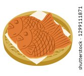 fish shaped pancake filled with ... | Shutterstock .eps vector #1299111871