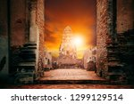 old temple in ayuthaya world... | Shutterstock . vector #1299129514