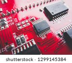 red circuit board with... | Shutterstock . vector #1299145384
