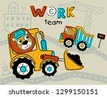 construction vehicles cartoon... | Shutterstock .eps vector #1299150151