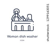 linear woman dish washer icon... | Shutterstock .eps vector #1299163051