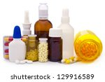 composition of medicine bottles ... | Shutterstock . vector #129916589