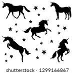 vector set of different black... | Shutterstock .eps vector #1299166867