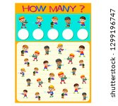 how many worksheet with many... | Shutterstock .eps vector #1299196747