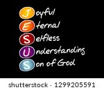 jesus   joyful eternal selfless ... | Shutterstock .eps vector #1299205591