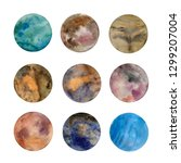 set of colorful planets... | Shutterstock . vector #1299207004