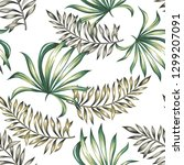 tropical palm leaves  white... | Shutterstock .eps vector #1299207091