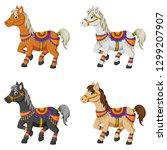 set of cartoon horses... | Shutterstock .eps vector #1299207907