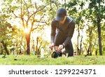 wearing sports shoe  outdoor... | Shutterstock . vector #1299224371