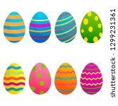 easter eggs vector icons flat...   Shutterstock .eps vector #1299231361
