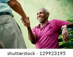 retired elderly people and free ... | Shutterstock . vector #129923195