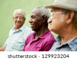 Stock photo retired elderly people and free time group of happy senior african american and caucasian male 129923204