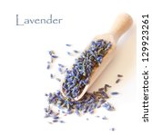 Dry lavender flowers in a wooden scoop on a white background. - stock photo