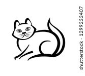 abstract icon of a domestic cat.... | Shutterstock .eps vector #1299233407