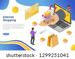 laptop with hand and shopping... | Shutterstock .eps vector #1299251041