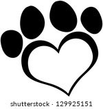Black Love Paw Print. Raster...
