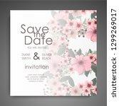 wedding card with flower rose ... | Shutterstock .eps vector #1299269017