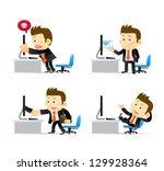 businessman at computer | Shutterstock .eps vector #129928364