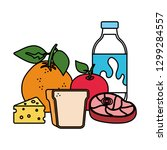 delicious milk bottle with... | Shutterstock .eps vector #1299284557