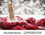 thermometer with sub zero... | Shutterstock . vector #1299285154