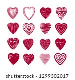 red heart set of icons. love ... | Shutterstock .eps vector #1299302017