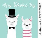 happy valentines day. llama... | Shutterstock .eps vector #1299321847