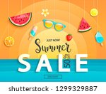 summer sale banner with fruits  ... | Shutterstock .eps vector #1299329887