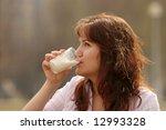 the girl in a morning drinks... | Shutterstock . vector #12993328