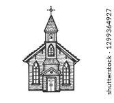 old wooden church chapel... | Shutterstock .eps vector #1299364927