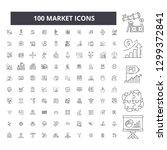 market editable line icons  100 ...   Shutterstock .eps vector #1299372841
