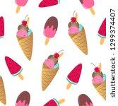 ice cream seamless seamless... | Shutterstock .eps vector #1299374407