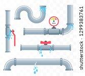 leaking pipes. broken pipeline. ... | Shutterstock .eps vector #1299383761