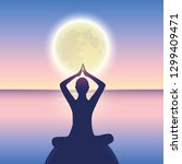 peaceful meditation on a calm... | Shutterstock .eps vector #1299409471