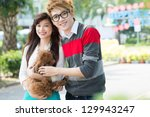 portrait of friends with a... | Shutterstock . vector #129943247