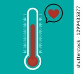 thermometer and red heart icon... | Shutterstock .eps vector #1299435877