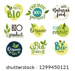 set of isolated eco and fresh... | Shutterstock .eps vector #1299450121