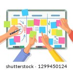 people hand using stickers on... | Shutterstock .eps vector #1299450124
