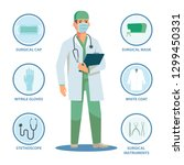 surgical doctor with isolated... | Shutterstock .eps vector #1299450331