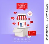 shopping online on website or...   Shutterstock .eps vector #1299453601