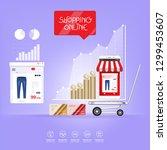 shopping online on website or...   Shutterstock .eps vector #1299453607