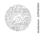 multimedia concept in thin flat ...   Shutterstock .eps vector #1299465604