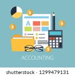 working with financial papers.... | Shutterstock .eps vector #1299479131