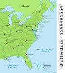 map of east coast   united... | Shutterstock .eps vector #1299491554